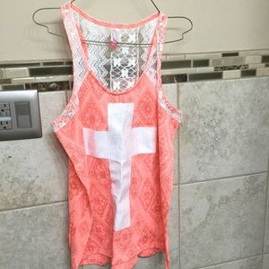 New without tags Orange Lace tank top XL 15/17